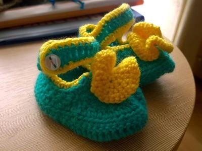 Bonitas zapatillas a crochet para niñas