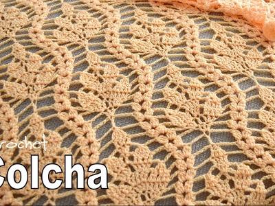 Colcha tejida en bello punto de ramas a crochet con pompones! Tejiendo Perú