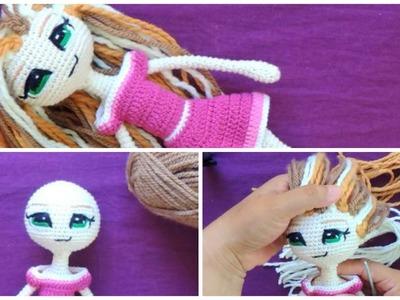 Como hacer el cabello para muñeca a crochet