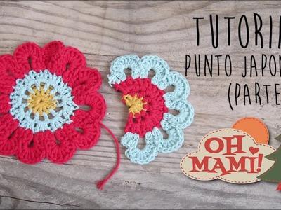 Cómo hacer media Flor Japonesa a crochet- How to crochet half japanese flower