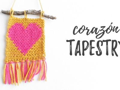 CORAZÓN en crochet TAPESTRY (tela de corazones) | Ahuyama Crochet