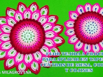 Flor de 32 pétalos a crochet paso a paso para aplicar en tapetes, centros de mesa, cojines y colchas