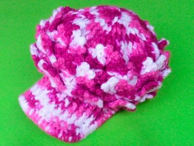 Gorra con visera tejido a crochet para niñas de 2 a 3 años - paso a paso