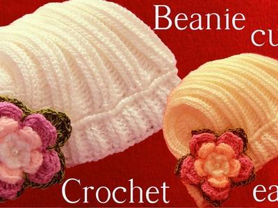 Gorro en punto de churros con flores tejido a Crochet o Ganchillo
