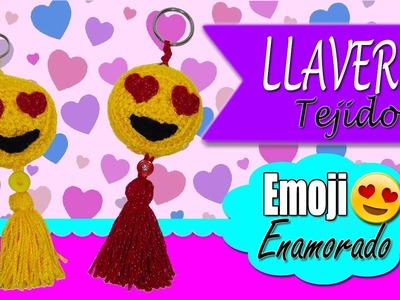 Llavero tejido a crochet Emoji enamorado | ESPECIAL SAN VALENTIN 14 DE FEBRERO