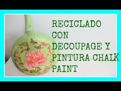 Reciclado - Cómo decorar un sartén con decoupage - DIY - Tutorial - Recycling