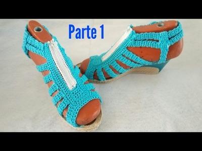 Sandalias tejidas a crochet, zapatos tejidos   cómo tejer el cierre PARTE 1