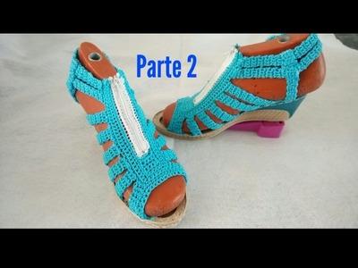 Sandalias tejidas a crochet, zapatos tejidos  PARTE 2