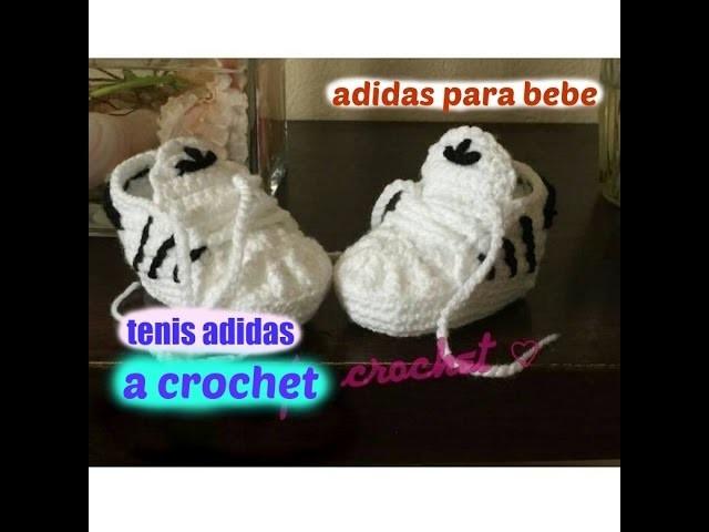 27b27a722 Tenis Adidas a Crochet Para Bebe (nuevo video)