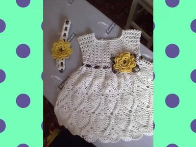 Vestido a crochet para bebe de 3 meses