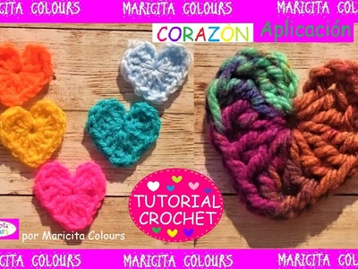 Corazones a Crochet Super fácil!.Ganchillo  por Maricita Colours Tutorial Gratis!
