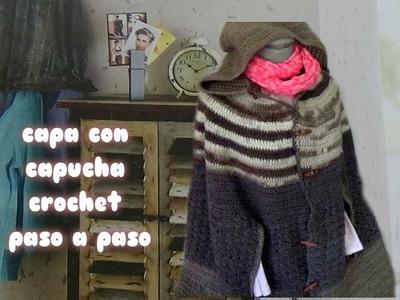 DIY | CAPA FACIL  DE CROCHET CON CAPUCHA FACIL | poncho crochet mujer.ganchillo