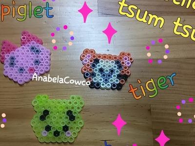 DIY Winnie the pooh Piglet y Tiger TSUM TSUM  kawaii de hama bead perler pixelArt