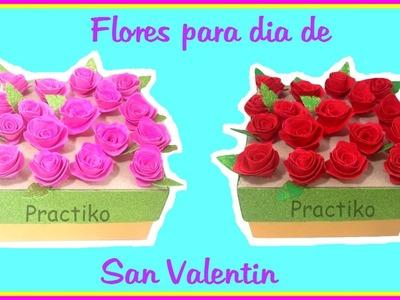 Como hacer flores de goma eva. manualidades para Valentine's Day PRACTIKO