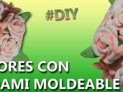Manualidades con foamy moldeable | COMO HACER FLORES DE FOAMI | MANUALIDADES FACILES