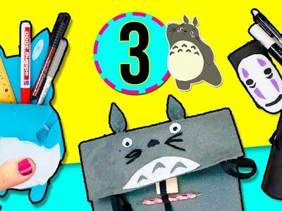 """3 ESTUCHES o LAPICERAS ✏️  fáciles y rápidos SIN COSER! * DIY """" Totoro"""" y """"El Viaje de Chihiro"""""""