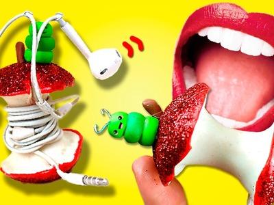 """DIY ✔️ Porta Auriculares """"APPLE"""" * ¡El porta audífonos casero más divertido!"""