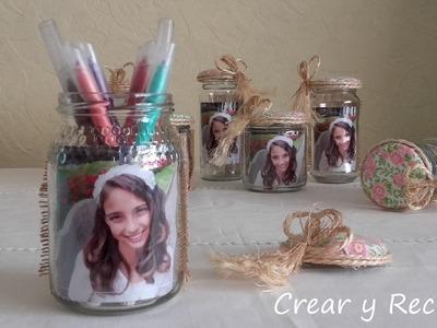 Portarretratos para recuerditos con frascos de vidrio para cumpleaños DIY con reciclaje