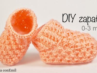Zapatitos de bebe 0-3 meses tejidos a dos agujas paso a paso