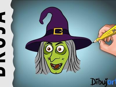Cómo dibujar la cara de una Bruja Malvada -  Dibujos de Halloween