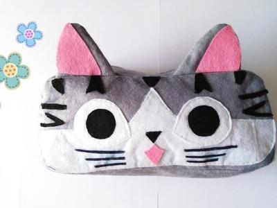 Como hacer estuche de gatito kawaii