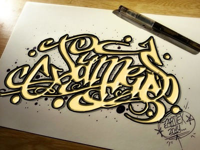 Como pintar letras 3D de graffitis y tatuajes fáciles - Dibujos para colorear paso a paso