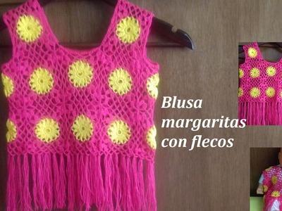 Blusa  crochet margaritas con flecos para niñas parte 1