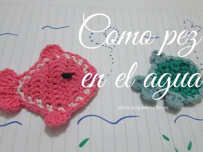 Com hacer peces en miniatura, tejidos en crochet, aplicaciones.
