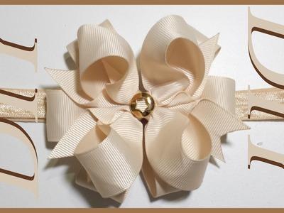 Como Hacer Lazos DIY #50 Bello Lazo Infinito con Broche Dorado