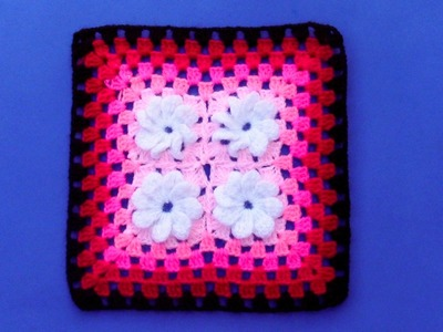 Cuadrado para colchas o cojines tejido a crochet - paso a paso