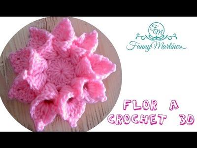 """Flor a crochet 3D bien facil paso a paso """"Flowers Crochet"""""""