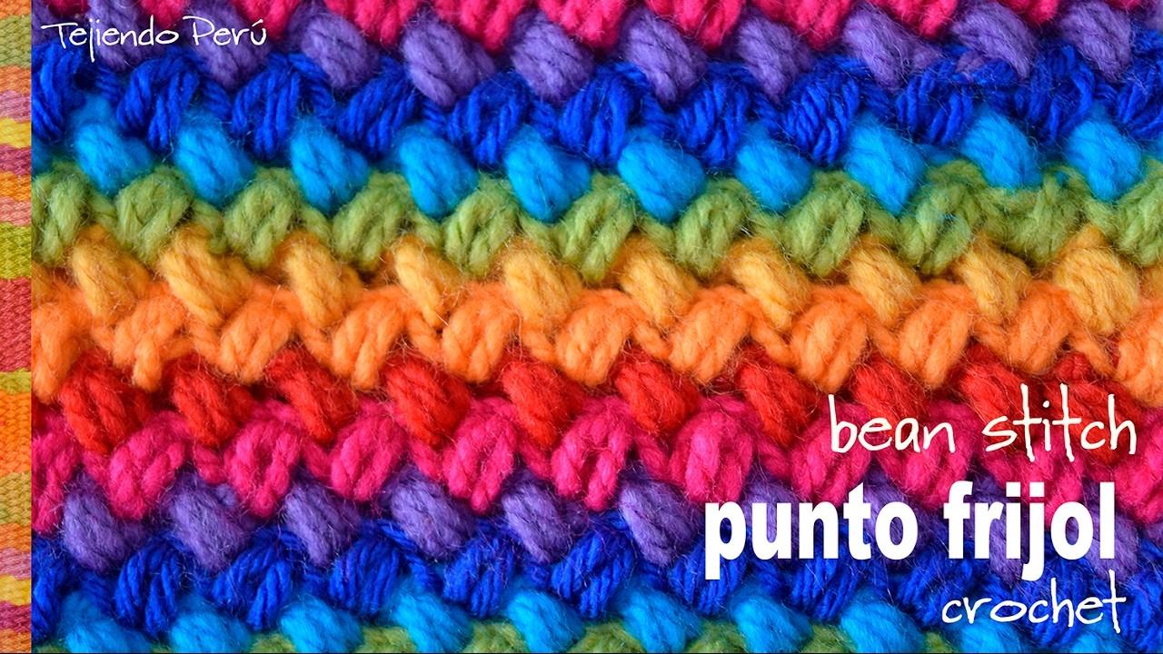 Punto frijol tejido a crochet: bello y reversible!. Crochet bean stitch! -Tejiendo Perú