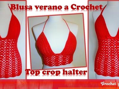 Top crop halter – blusa verano tejida a crochet (ganchillo) – Parte 2