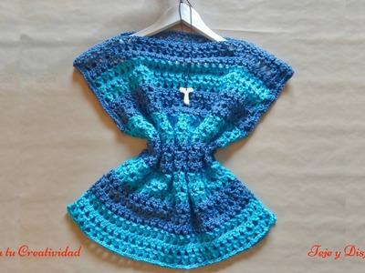 """Túnica o blusa básica a crochet en punto """"Y"""", paso a paso."""