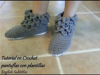 Como tejer Pantuflas Cocodrilo en Crochet con plantillas - English Subtitles