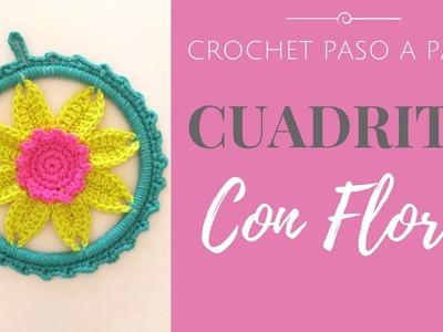 CUADRO CON FLOR EN CROCHET - Paso a Paso por mamaQuilla