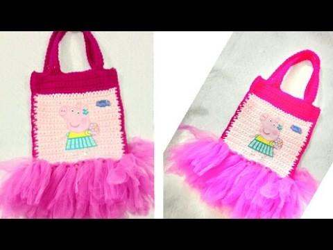 Bolsa tejida de peppa pig. Bolsa para dulces tejida  a crochet de peppa pig