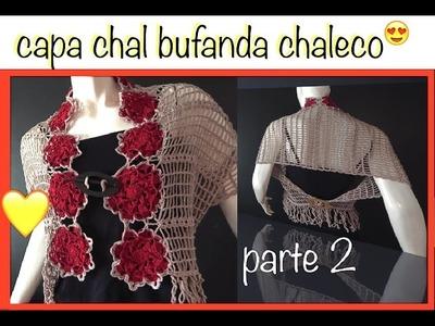 Chal Capa Bufanda y más con motivos flor 8 pétalos ganchillo crochet Shawl Cape DIY Parte 2 de 2
