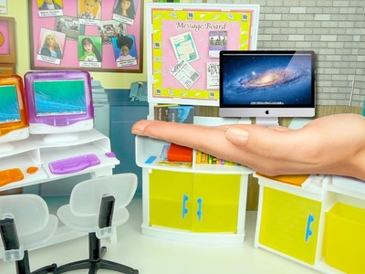 Juguetes para Barbies Sala de Computacion - Manualidades DIY Computadora y Libros Miniatura Facil