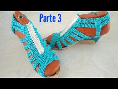 Sandalias tejidas a crochet, zapatos tejidos  PARTE 3