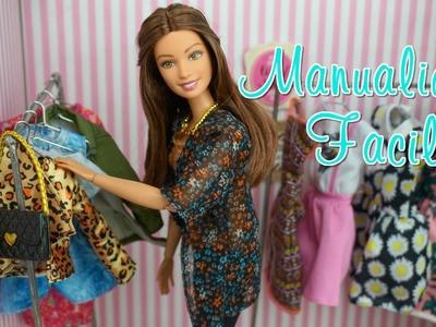 Manualidades Faciles para Muñecas - Como Hacer  Estante de Boutique con Ganchos de Ropa para Barbie