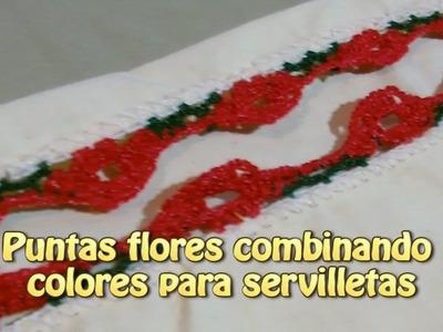Puntas flores combinando colores para servilletas |Creaciones y manualidades angeles