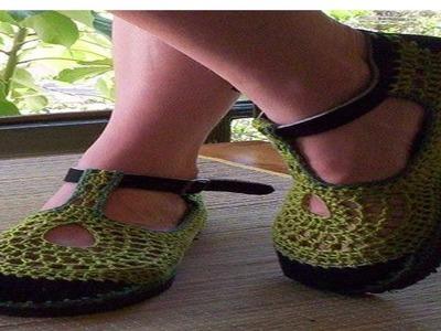 Zapatos tejido en Crochet y Dos agujas