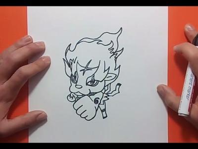 Como dibujar a Flamileon paso a paso - Yo Kai Watch | How to draw Blazion - Yo Kai Watch