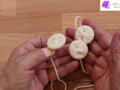 Como forrar botones con hilo o estambre para Chaleco dos Agujas