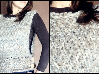 Cómo tejer un CHALECO a crochet en PUNTO TUNECINO diagonal | Ahuyama Crochet