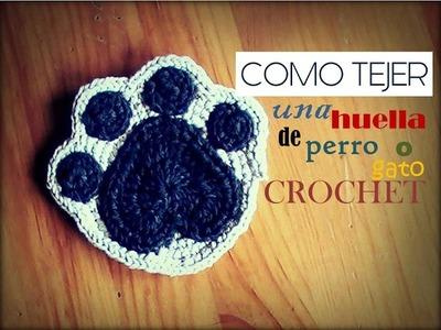COMO TEJER una huella de perro o gato a CROCHET (zurdo)