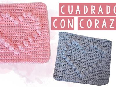 CUADRADO DE CROCHET CON CORAZON - TUTORIAL   Danii's Ways ♡