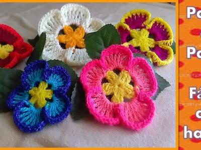 FLOR TEJIDA en crochet PASO A PASO muy FACIL DE HACER
