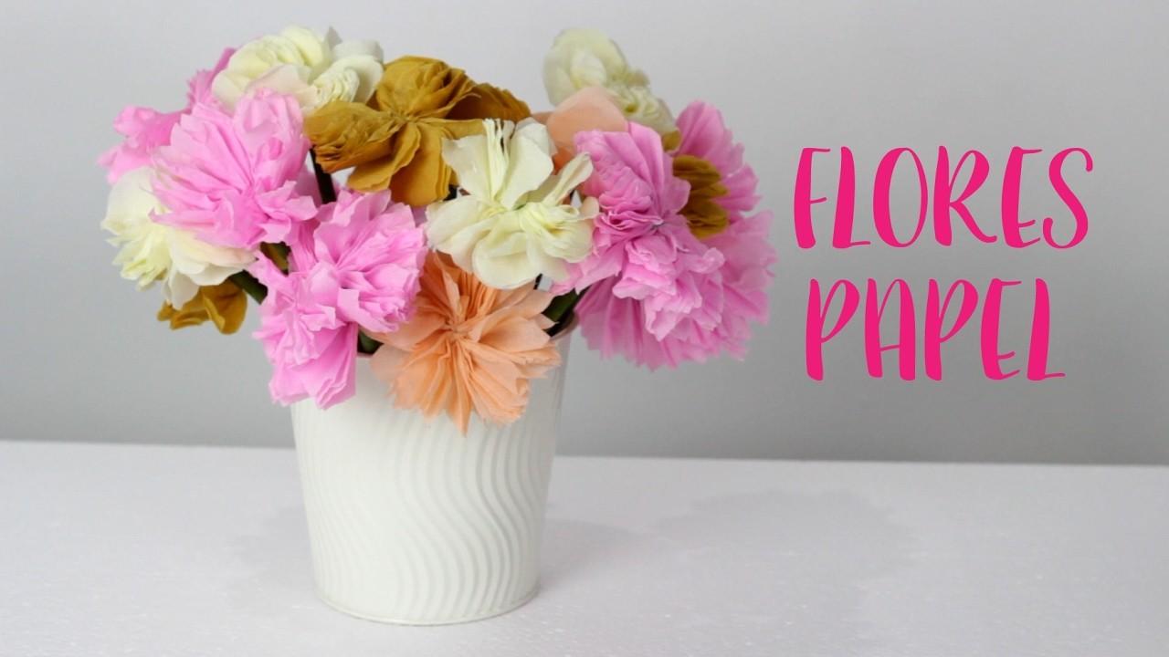 Flores de papel crepe manualidades diy como hacer flores for Manualidades con papel crepe